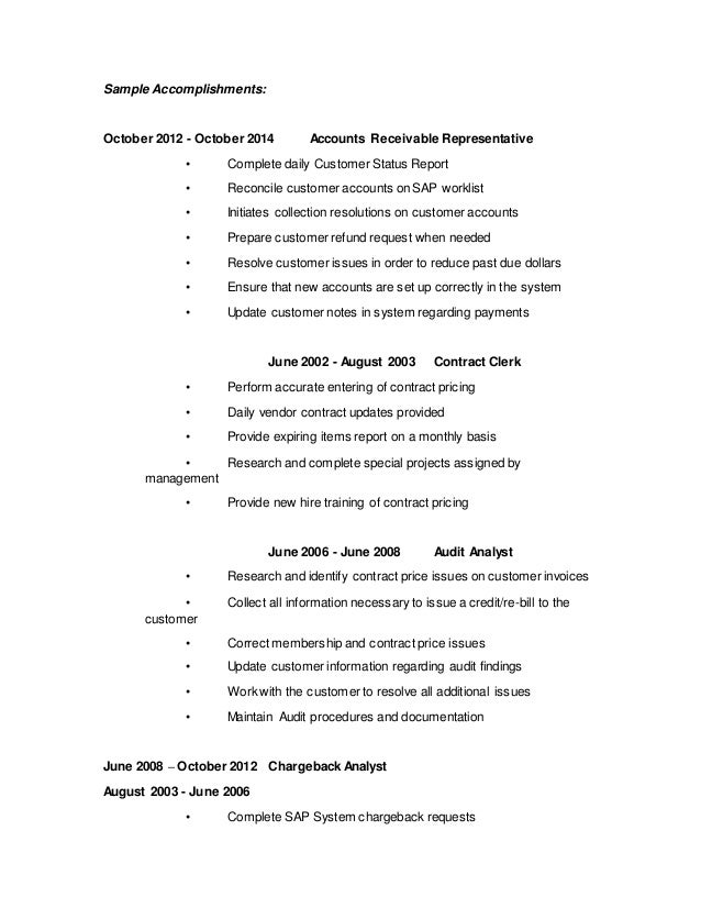 Account Receivable Resume