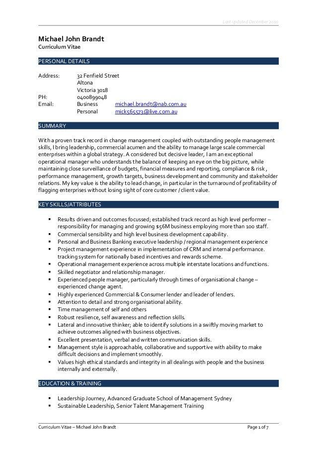 Michael Brandt Curriculum Vitae - July 2017