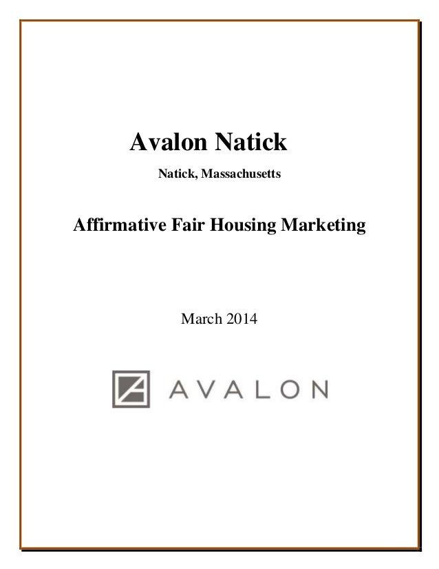 IZ Workshop   B affirmative fair marketing natickAvalon Natick Natick  Massachusetts Affirmative Fair Housing Marketing March