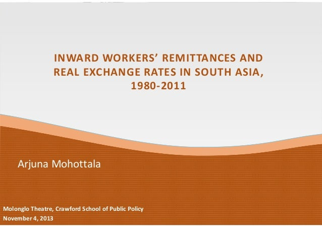 INWARD WORKERS' REMITTANCES AND REAL EXCHANGE RATES IN SOUTH ASIA,  1980‐2011  Arjuna Mohottala  Molonglo Theatre, Crawfor...