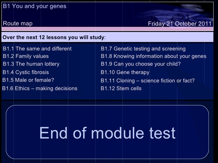 B1 You and your genes Route map Over the next 12 lessons you will study : Friday 21 October 2011 B1.1 The same and differe...