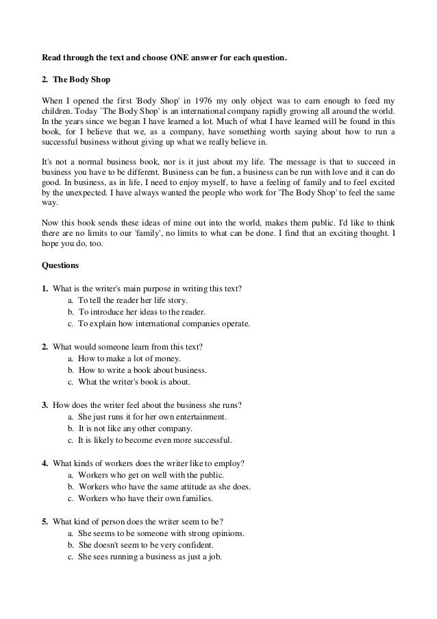 english reading comprehension test b1 pdf