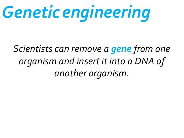 Genetic engineering Scientists can remove a gene from one organism and insert it into a DNA of another organism.