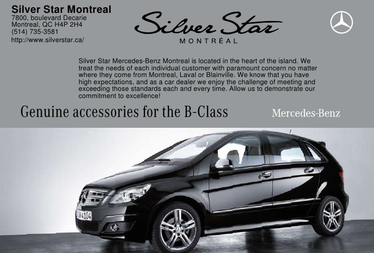 2010 mercedes benz b class accessories silver star for Mercedes benz montreal