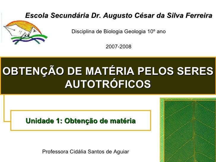 Escola Secundária Dr. Augusto César da Silva Ferreira Disciplina de Biologia Geologia 10º ano 2007-2008 OBTENÇÃO DE MATÉRI...