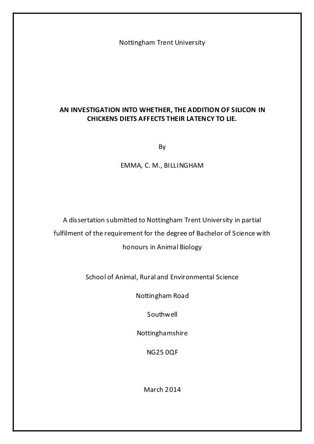 Dissertation statistical services nottingham