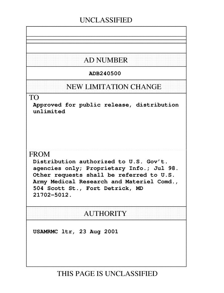 UNCLASSIFIED                AD NUMBER                 ADB240500           NEW LIMITATION CHANGETOApproved for public relea...