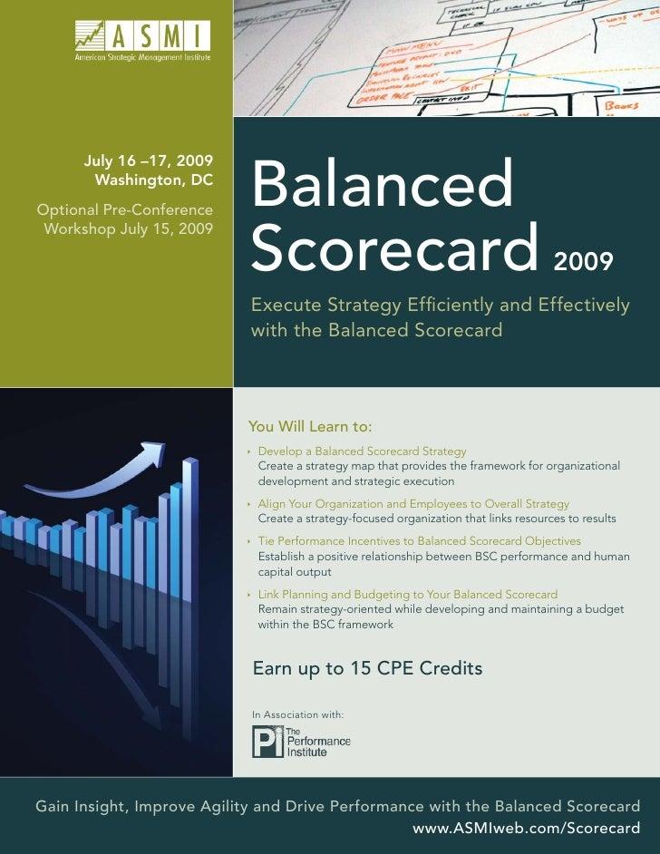 July 16 –17, 2009        Washington, DC Optional Pre-Conference                             Balanced                      ...