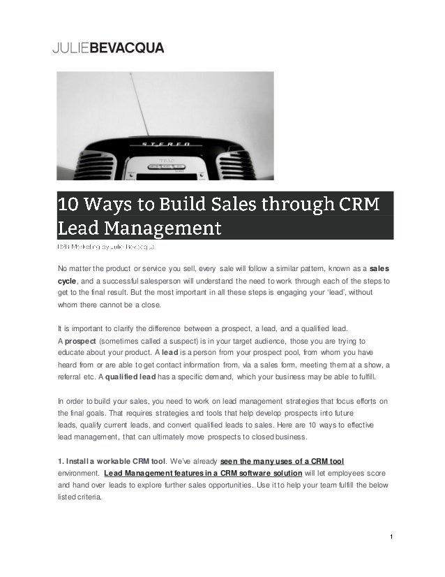 B2B Marketing: 10 Ways to Build Sales through CRM Lead Management by Julie Bevacqua