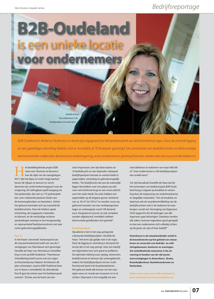 B2B-Oudeland is een unieke locatie - Het Ondernemersbelang