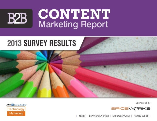 2013 survey results Sponsored by | Yesler | Software Shortlist | Maximizer CRM | Hanley Wood | Marketing Report Technology...