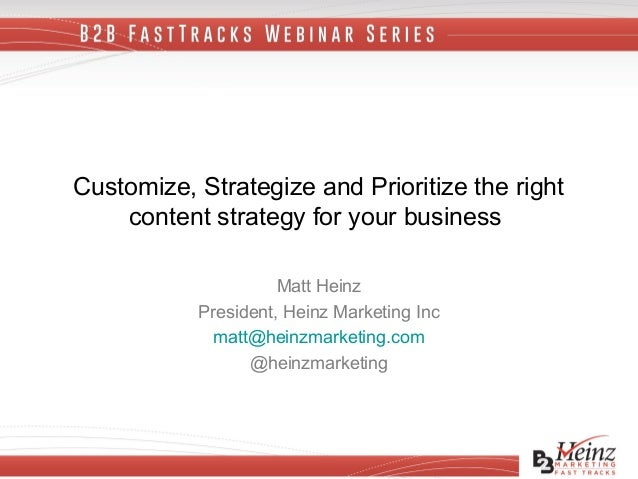 B2B FastTracks Webinar Series: Customize, Strategize and Prioritize the Right Content Strategy for Your Business