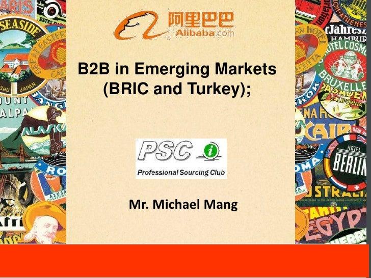 B2B in Emerging Markets  (BRIC and Turkey);     Mr. Michael Mang