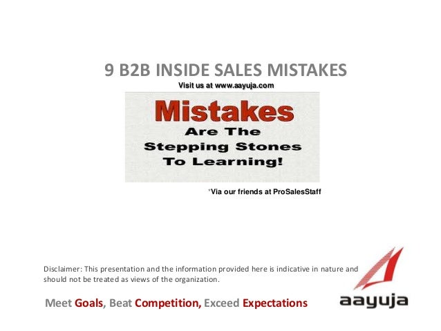 9 B2B Inside Sales Mistakes