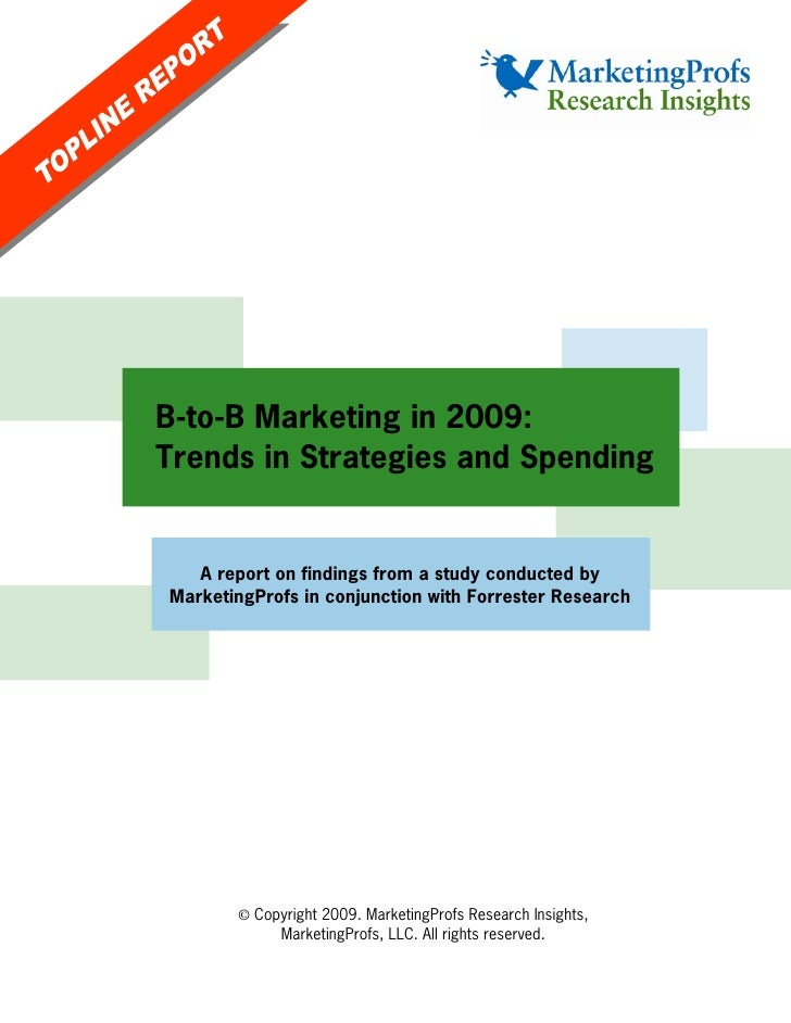 B-to-B Marketing in 2009: Trends in Strategies and Spending      A report on findings from a study conducted by MarketingP...