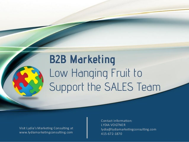 B2B Marketing Low Hanging Fruit to Support the SALES Team  Visit  Lydia's  Marke/ng  Consul/ng  at   www.lydiama...