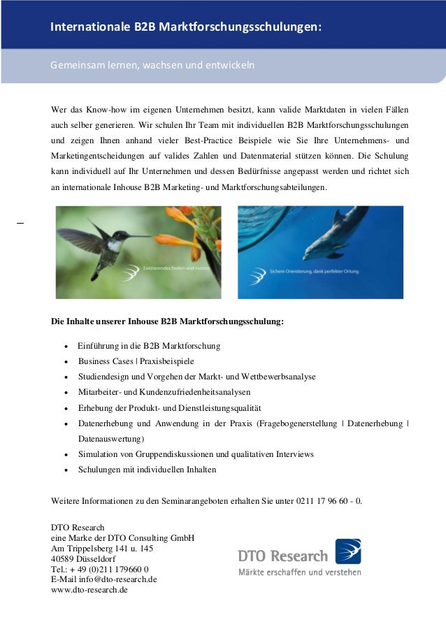 B2B Markforschungsseminare von DTO Research