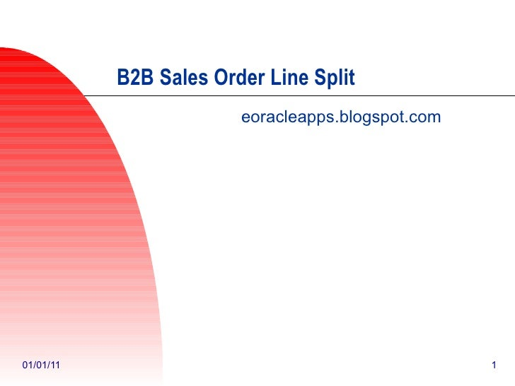 B2B Process in Order Management and Line Split