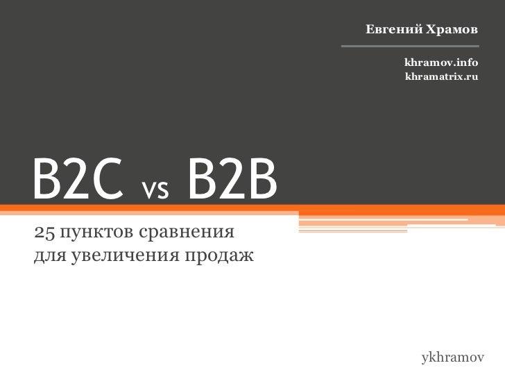 B2B vs B2C: 25 пунктов сравнения для увеличения продаж