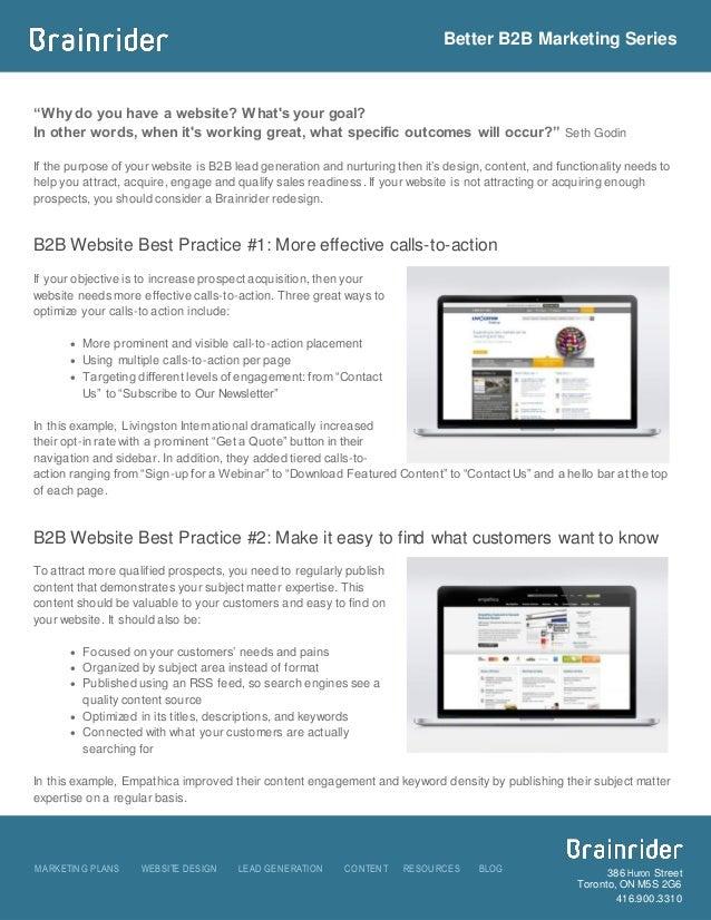 Better B2B Marketing Series MARKETING PLANS WEBSITE DESIGN LEAD GENERATION CONTENT RESOURCES BLOG 386 Huron Street Toronto...