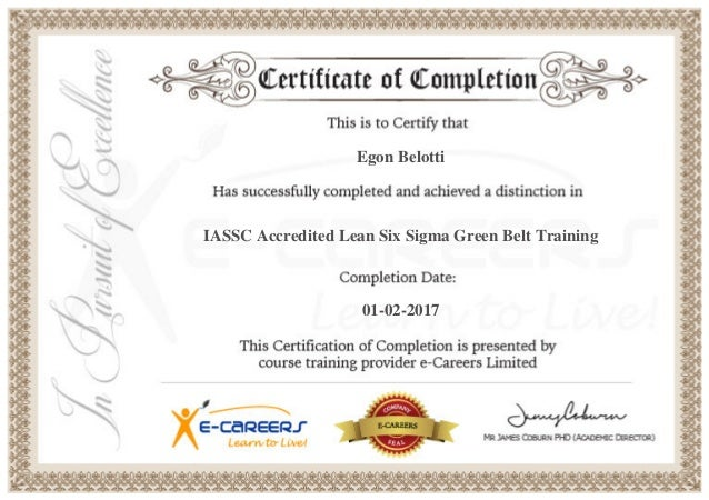Green Belt Certificate Template