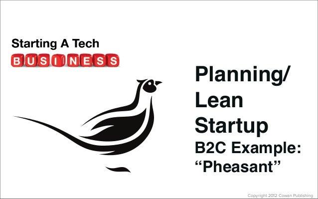 "Copyright 2012 Cowan PublishingPlanning/LeanStartupB2C Example:""Pheasant"""