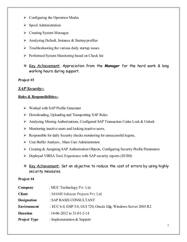 mubashir ahmed erp sap basis consultant resume with 3 yr exp consulting -  Sap Security Resume