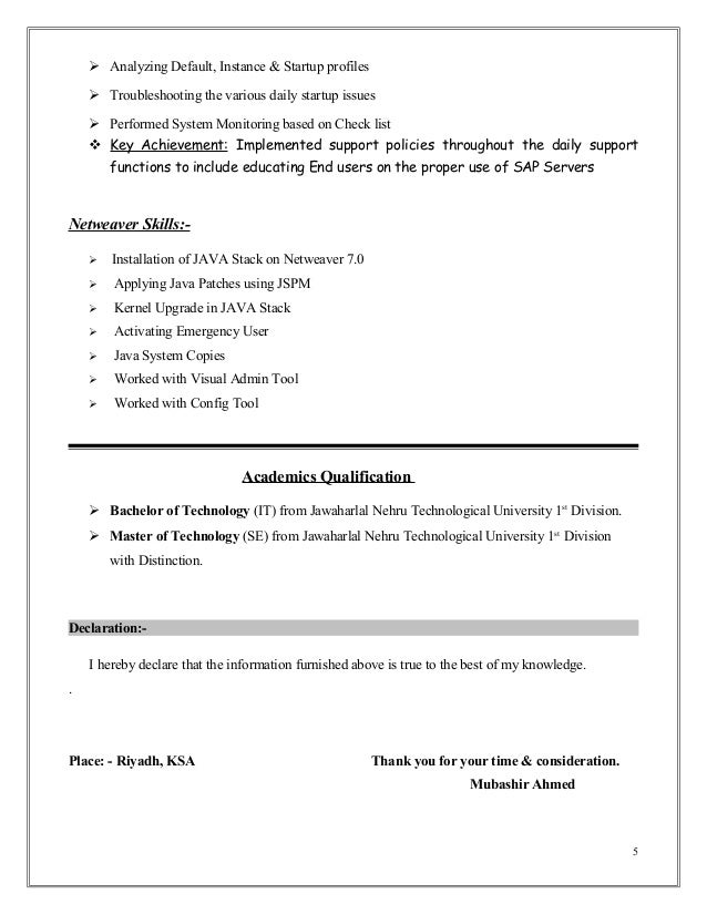 Sap erp resume sample