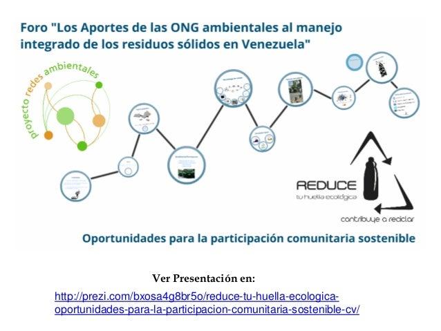 Ver Presentación en:http://prezi.com/bxosa4g8br5o/reduce-tu-huella-ecologica-oportunidades-para-la-participacion-comunitar...