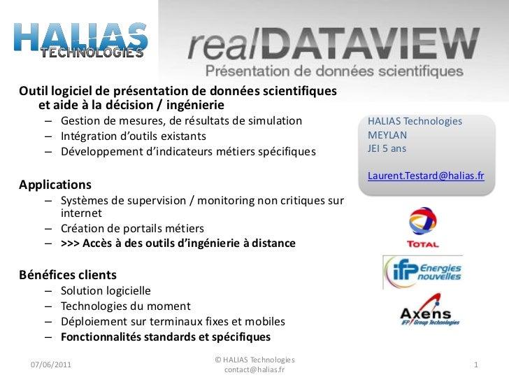 Outil logiciel de présentation de données scientifiques  et aide à la décision / ingénierie    – Gestion de mesures, de ré...