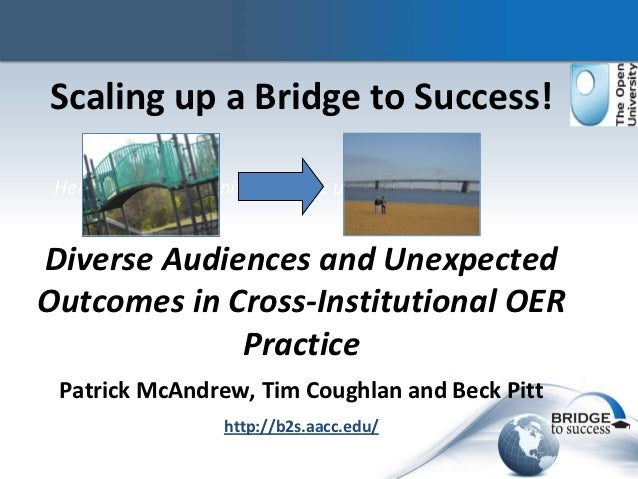 Scaling up a Bridge to Success! Helping US Community Colleges use OERDiverse Audiences and UnexpectedOutcomes in Cross-Ins...