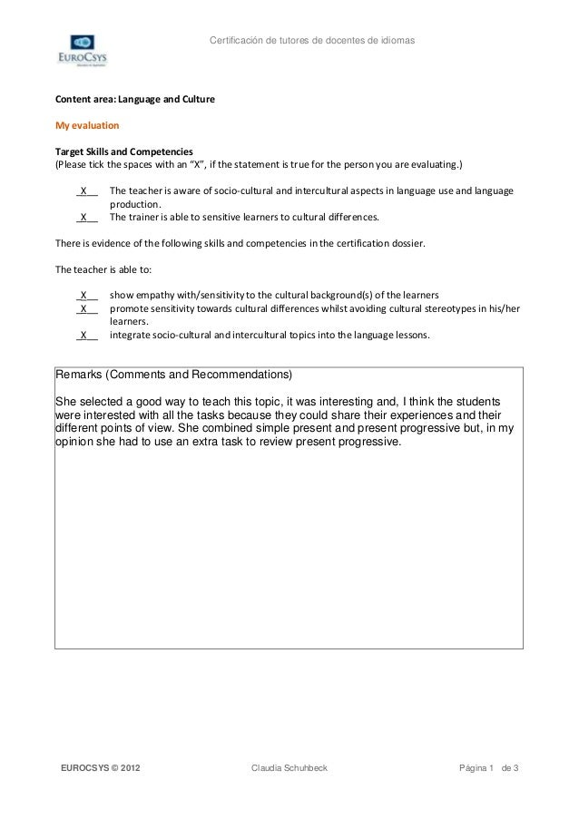 Certificación de tutores de docentes de idiomasContent area: Language and CultureMy evaluationTarget Skills and Competenci...