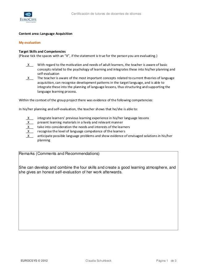 Certificación de tutores de docentes de idiomasContent area: Language AcquisitionMy evaluationTarget Skills and Competenci...