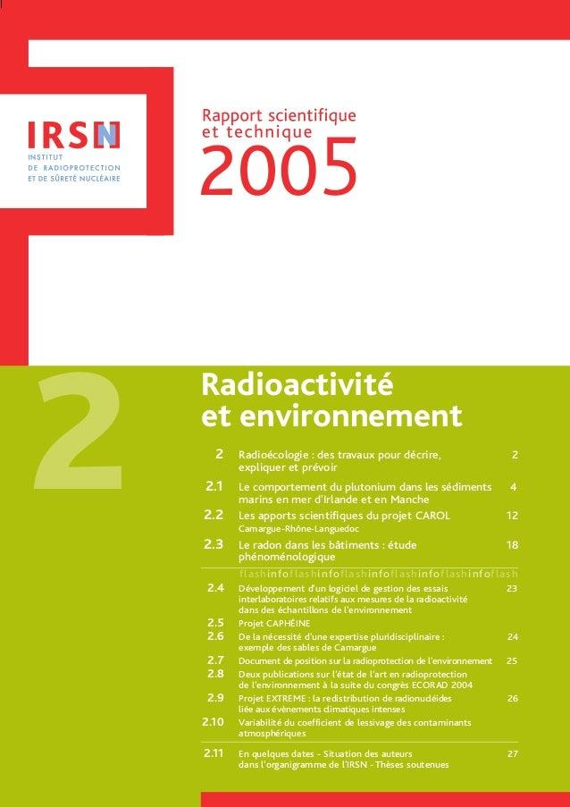 2 2 Radioécologie : des travaux pour décrire, 2 expliquer et prévoir 2.1 Le comportement du plutonium dans les sédiments 4...