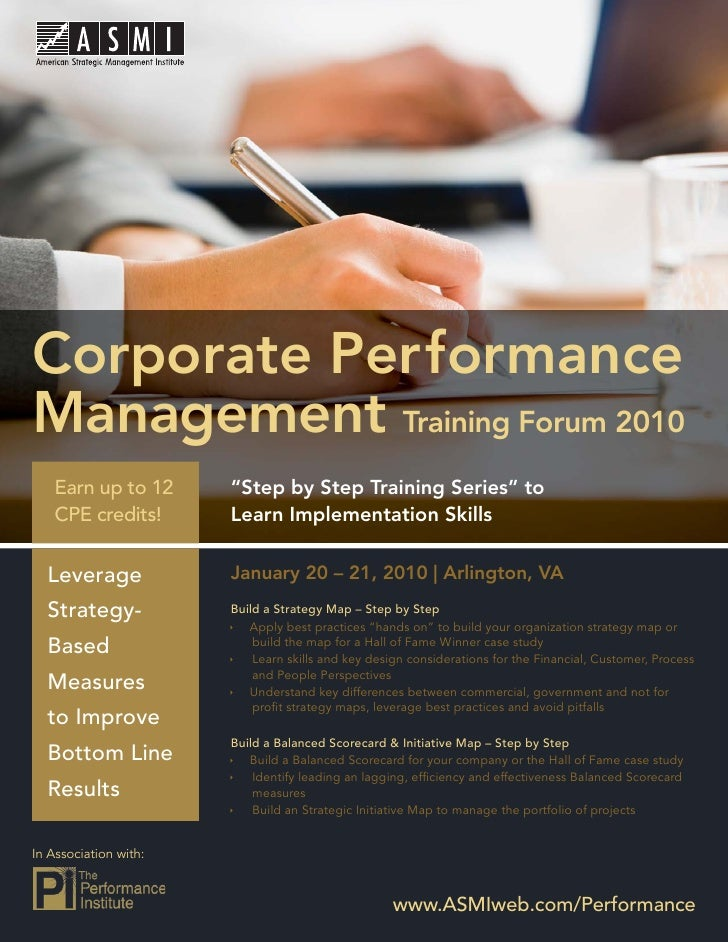Performance Management Training Forum 2010     Corporate Performance Management Training Forum 2010    Earn up to 12      ...