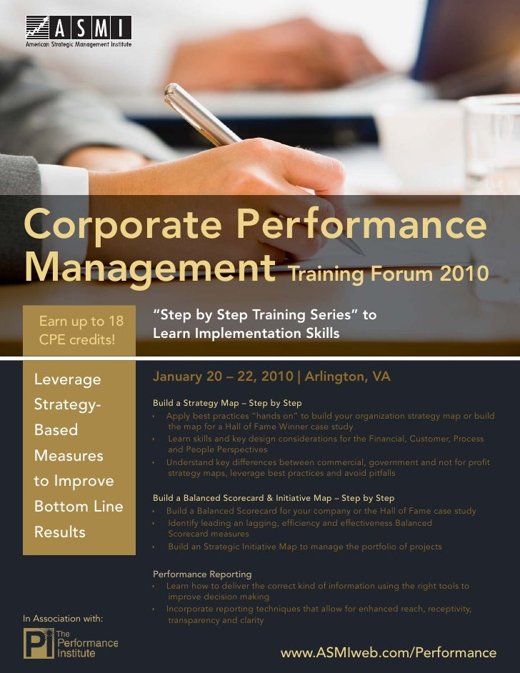 Performance Management Training Forum 2010     Corporate Performance Management Training Forum 2010    Earn up to 18      ...