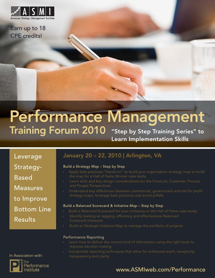 Performance Management Training Forum 2010  Earn up to 18 CPE credits!     Performance Management Training Forum 2010     ...