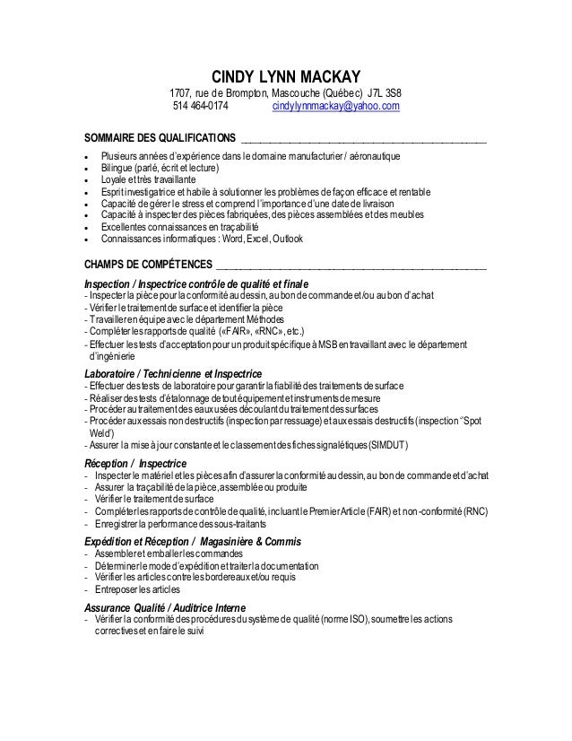 cindy mackay cv inspectrice et magasini u00e8re
