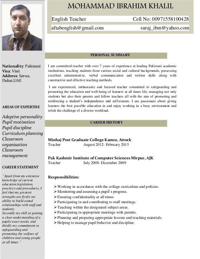 teaching english abroad resume sample