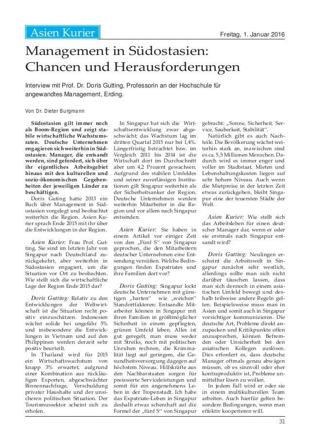 Freitag, 1. Januar 2016Asien Kurier 31 Management in Südostasien: Chancen und Herausforderungen Interview mit Prof. Dr. Do...