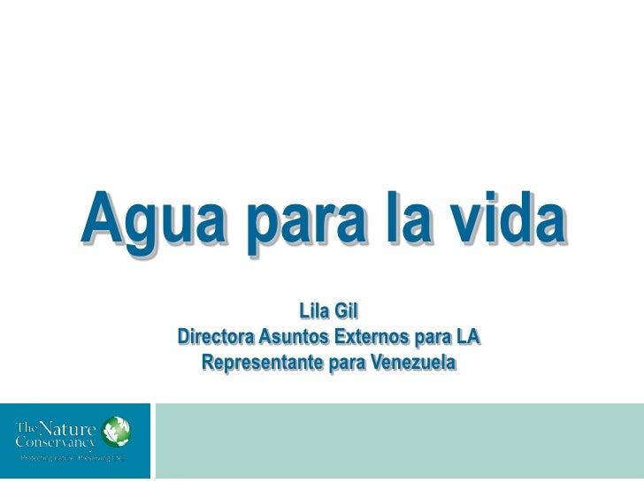 Agua para la vida                 Lila Gil   Directora Asuntos Externos para LA      Representante para Venezuela