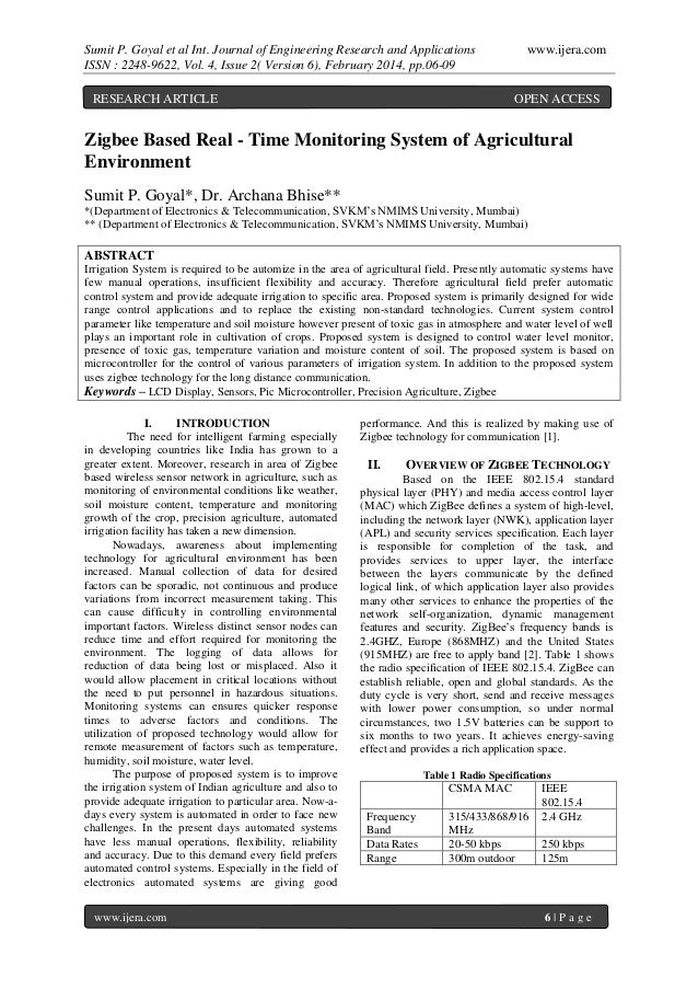 Sumit P. Goyal et al Int. Journal of Engineering Research and Applications ISSN : 2248-9622, Vol. 4, Issue 2( Version 6), ...