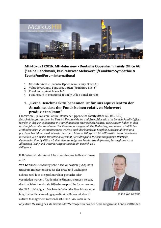 """1 MH-Fokus 1/2016: MH-Interview - Deutsche Oppenheim Family Office AG (""""Keine Benchmark, kein relativer Mehrwert"""")/Frankfu..."""
