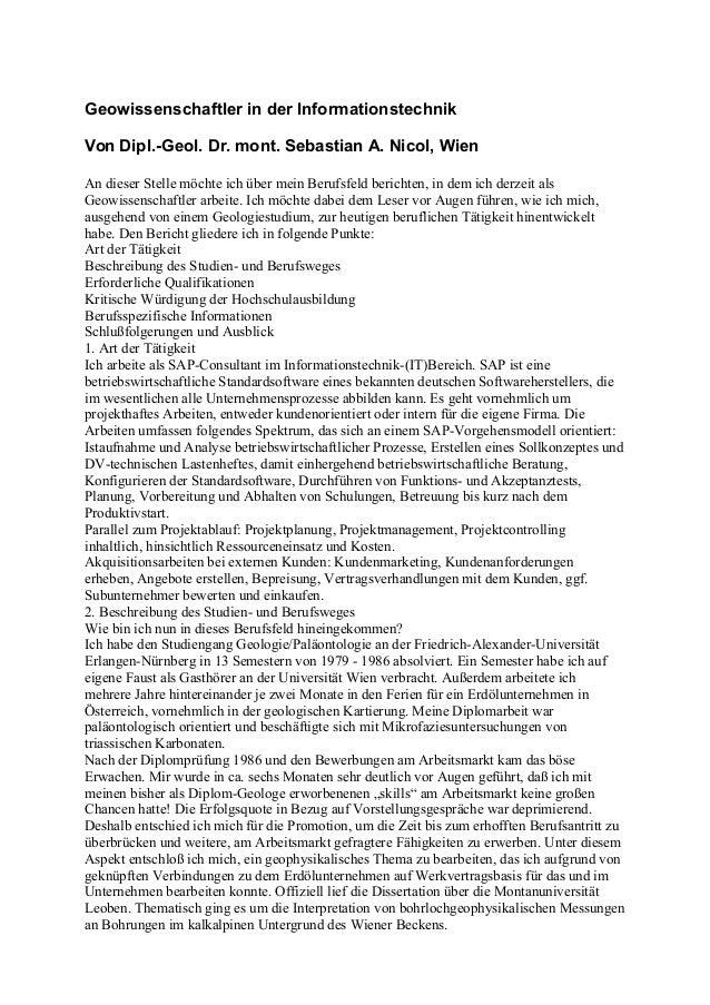 Geowissenschaftler in der Informationstechnik Von Dipl.-Geol. Dr. mont. Sebastian A. Nicol, Wien An dieser Stelle möchte i...