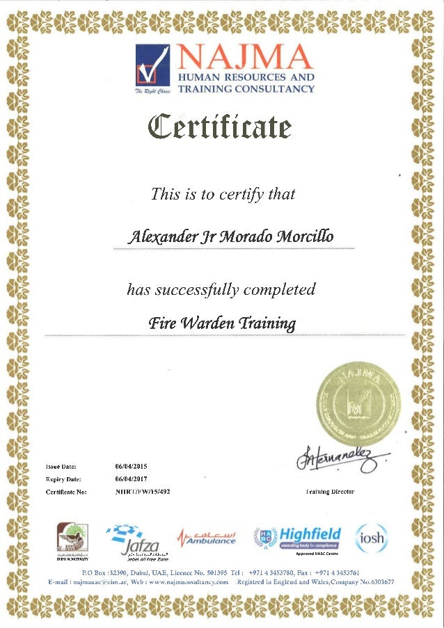 Fire Safety Certificate Template Mandegarfo