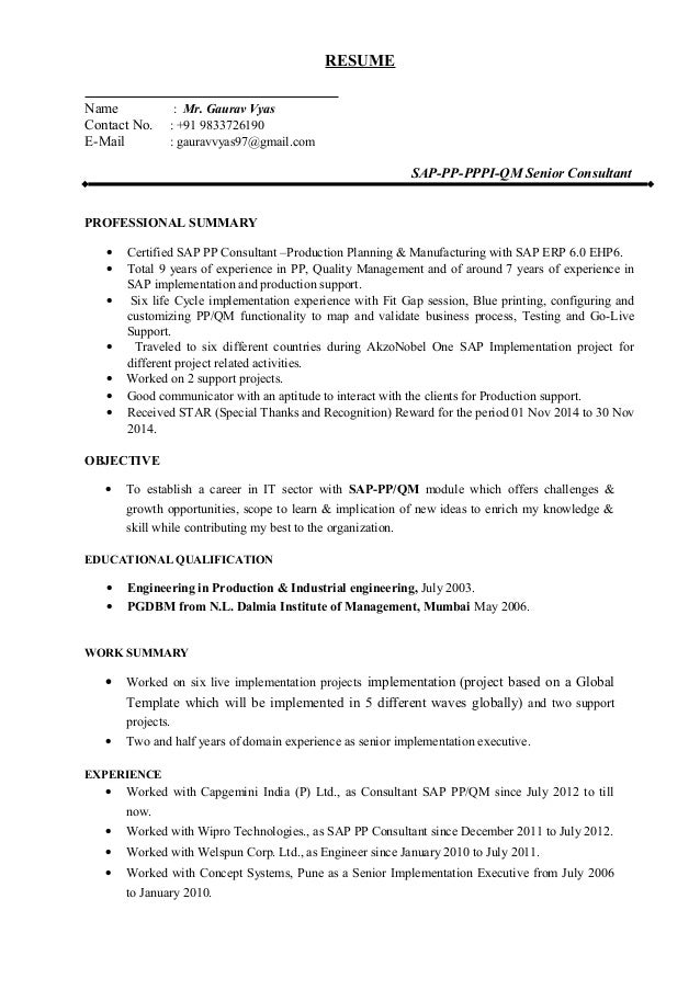 sap hr resume sample resume cv cover letter - Sap Resume Sample