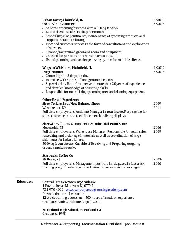pet groomer resume pet groomer resume pet sitter dog walker