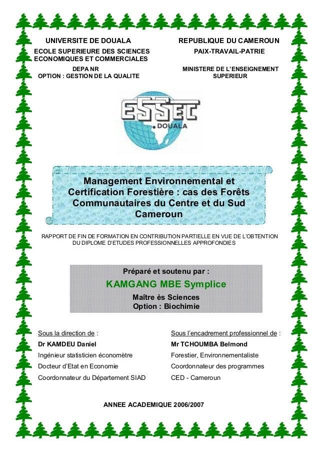 UNIVERSITE DE DOUALA REPUBLIQUE DU CAMEROUN ECOLE SUPERIEURE DES SCIENCES PAIX-TRAVAIL-PATRIE ECONOMIQUES ET COMMERCIALES ...