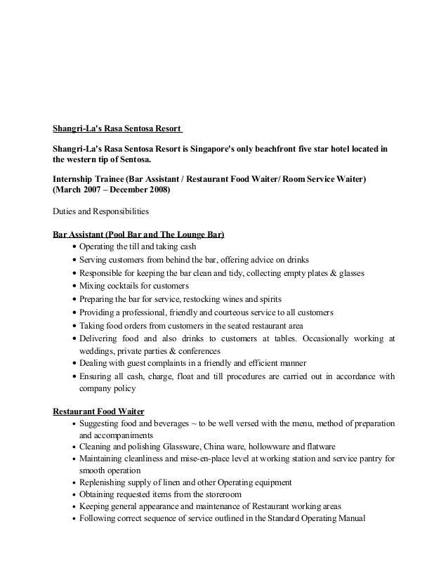 Cv For A Waiter Resume Templates