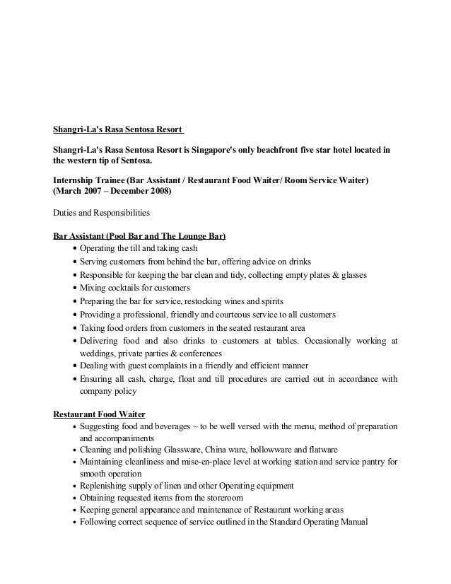 duties of a waitress for resume waitress resume duties by
